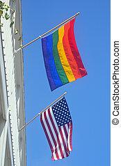 american büszkeség, lobogó, buzi