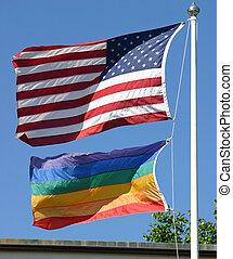 american büszkeség, zászlók, buzi
