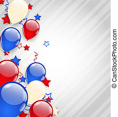 American background with colorful balloons for 4th of July