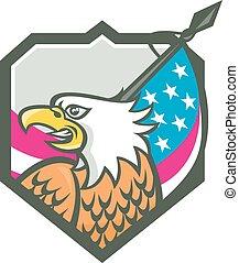 American Bald Eagle Flag Spear Retro