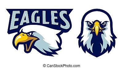 American Bald Eagle Head Logo Mascot in Cartoon Style