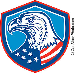 American Bald Eagle Head Shield Retro - Illustration of a...