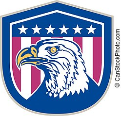 American Bald Eagle Head Side Stars Retro