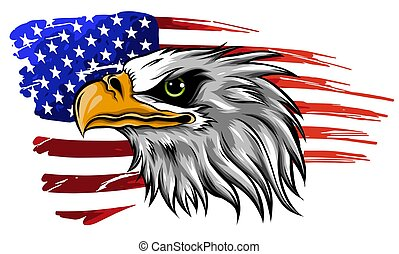 american bald eagle illustration vector against flag - ...
