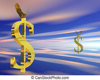 American bald eagle on dollar sign.