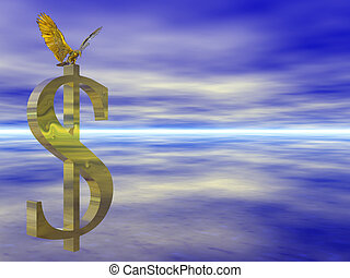 American bald eagle on dollar sign. - Illustration,...