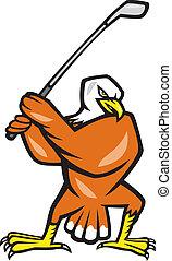 American Bald Eagle Playing Golf Cartoon - Illustration of a...