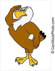 American Bald Eagle Saluting - hand drawn cartoon eagle...