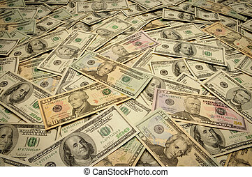 American banknotes of various denominations - Pile of money...