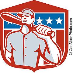 American Baseball Batter Bat Shiedl Retro - Illustration of...