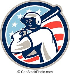 American Baseball Batter Hitter Circle Retro