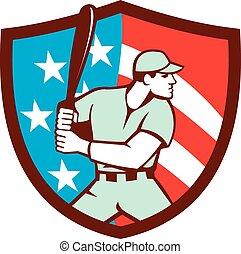 American Baseball Batter Hitter Shield Retro - Illustration...