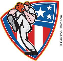 American Baseball Pitcher Shield - Illustration of a...