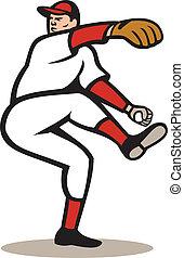 American Baseball Pitcher Throwing Ball Cartoon