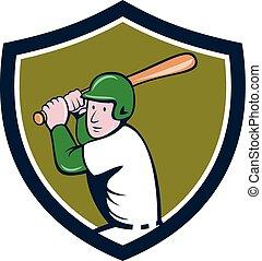 American Baseball Player Batting Crest Cartoon