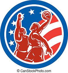 American Basketball Player Dunk Block Circle Retro -...