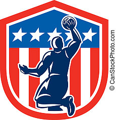 American Basketball Player Dunk Rear Shield Retro -...
