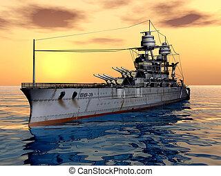 American Battleship USS Arizona - Computer generated 3D...