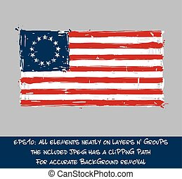 American Betsy Ross Flag Flat - Artistic Brush Strokes and...
