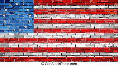 American Betsy Ross flag on a brick wall - Illustration,...