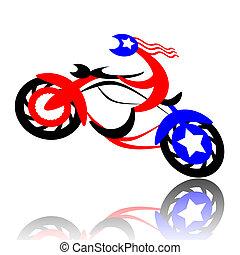 American biker jumping