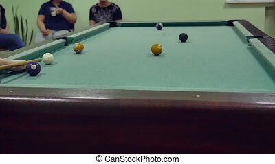 American billiards pool 8. old the pool billiards hit balls in indoors striped slow motion video