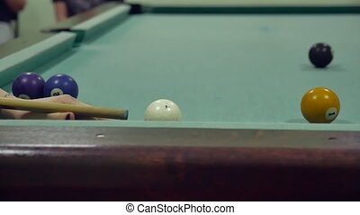 American billiards pool 8. old the pool billiards hit balls in striped slow motion video indoors