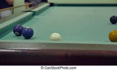 American billiards pool 8. old the pool billiards hit balls indoors in striped slow motion video