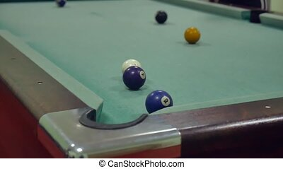American billiards pool 8. old pool billiards hit balls indoors in striped slow motion video