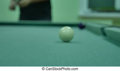 American billiards pool 8 on a indoors table beginning of...