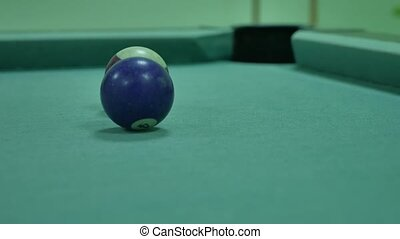 American billiards pool 8 on a table beginning indoors of...