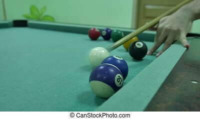American billiards pool 8 on a table beginning of game indoors sport lifestyle