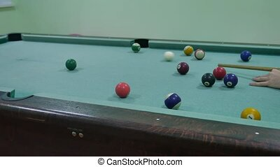 American billiards pool 8 on table beginning of the game sport indoors lifestyle