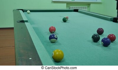 American billiards pool 8 on a table beginning of the game...