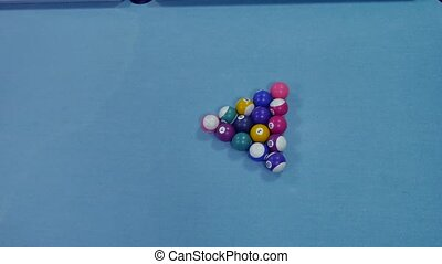 American billiards pool 8 on a table breakdown of a pyramid...
