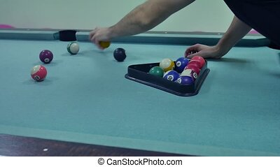 American billiards pool 8 on table pyramid installation beginning of the game sport