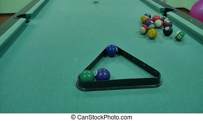 American billiards pool 8 on a table pyramid installation beginning of the game sport lifestyle
