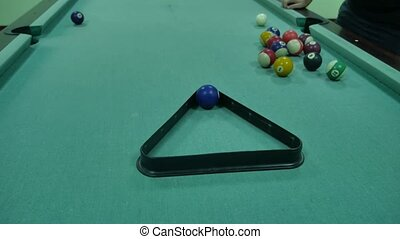 American billiards pool lifestyle 8 on a table pyramid installation beginning of the game sport