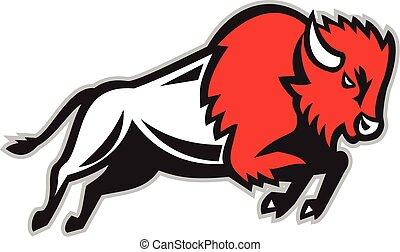 American Bison Buffalo Jumping Retro - Illustration of an...