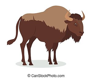 American Bison Cartoon Icon in Flat Design