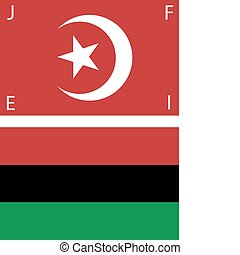 Set of American Black Nationalist and Nation of Islam Flags. The red NOI flag is similar to the Turkish flag, but the moon is in its first quarter. The letters at the corner are unique, signifying Freedom, Justice, Equality and Islam. Scalable EPS has each flag on its own layer.
