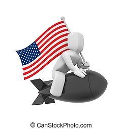 American bomb flying somewhere - Political metaphor....