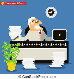 American boss at the desk, making business decision vector ...