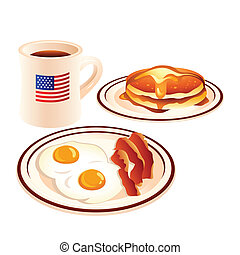 American breakfast - Fried eggs, bacon, pancakes with honey...