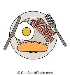 American breakfast on dish