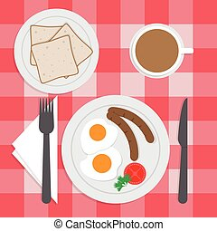 American breakfast set on the table