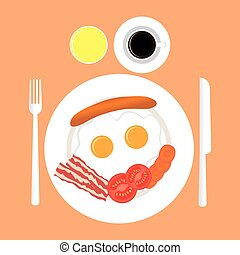 American breakfast top view isolated