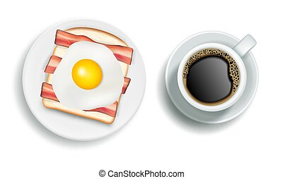 American breakfast vector realistic illustration