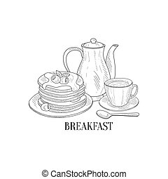American Breakfast With Pancakes And Coffee Hand Drawn Realistic Sketch