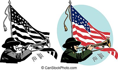 American Bugle Player - A soldier plays a bugle against the ...